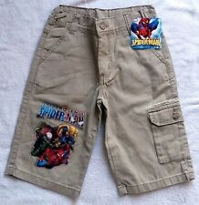NWT Youth Marvel Spiderman Khaki Shorts with Colorful Spiderman Decal Sz 4 6 10