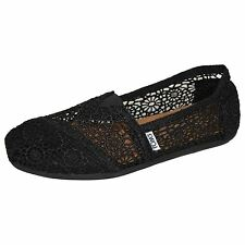 TOMS ESPADRILLES CLASSIC MORROCAN CROCHET WOMENS BLACK SHOES