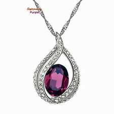 Silver Genuine Amethyst Purple Swarovski Crystal Teardrop Wedding Necklace N10
