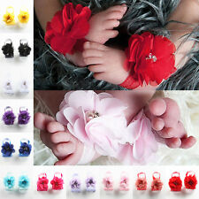 2 Pairs Handmade Foot Flower Rhinestone Barefoot Sandals Shoes Baby Infant Gift