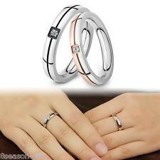 GIFT Fashion Womens Mens Stainless Steel Couple Zircon Ring For Wedding Gift