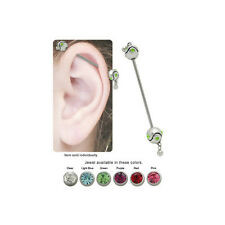 Jeweled Wavy Bead Industrial Barbell