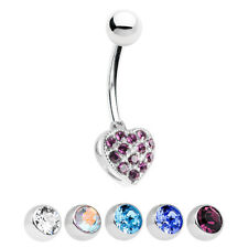 Sterling Silver Heart Belly Button Ring with CZ Gems
