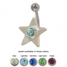 Star Design Belly Button Ring with CZ Jewel