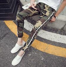 Teenager Men's slim fit ankle banded casual pants camo harem trousers