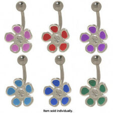 Sterling Silver Enamel Design Flower Belly Ring with Jewel
