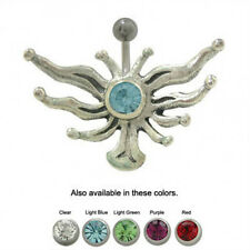 Sterling Silver Wings Belly Button Ring with CZ Gem