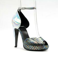 PIERRE HARDY SILVER LEATHER/DISCO WATERSNAKE PLATFORM ANKLE STRAP