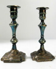 """Set of 2 Vintage Weighted Silver/Silverplated Metal 7.5"""" Candlesticks Holders"""