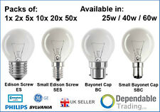 PACKS OF BRANDED GOLF BALL LIGHT BULBS in 25W / 40W / 60W - SES SBC ES BC LAMPS