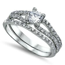 Sterling Silver Wedding set size 7 CZ Round cut Engagement Ring Bridal New z10