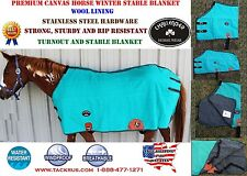 Canvas Duck Turnout Water Resistant Horse Winter Blanket Teal 2519