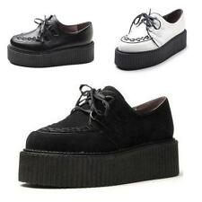 Womens ladies Faux Suede Punk Gothic Lace Up High Platform Flat Creeper Shoes
