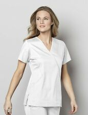 Wonderwink Medical Scrub Wonder Work Stretch White Mock Wrap Top Sz XS-XL NWT