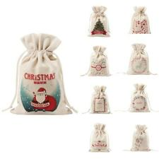 DRAWSTRING BAG / POUCH CHRISTMAS GIFT FAVOUR SWEETS XMAS STOCKING HOLDER BAGS