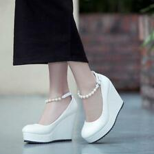 Sweet Womens Pearl Bead Platform Wedge heels ankle strap Buckle Wedding shoes