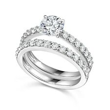 Sterling Silver wedding set CZ Round cut Engagement ring Bridal New Size 5-9