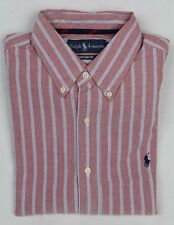 Ralph Lauren Red Blue White Custom Stripe Dress Shirt Navy Pony NWT