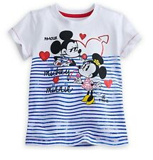 Disney Store Authentic Mickey & Minnie Mouse Girls T Shirt Tee Size 5/6 7/8