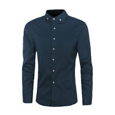 Men Long Sleeves Button Down Point Collar Slim Fit Shirt