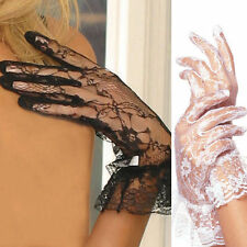 Lace Wrist Length Gloves with Ruffle Trim Bridal Full Fingered Sexy Costume 1260