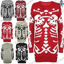 Womens Scary Skeleton Bones Knitted Jumper Ladies Halloween Pullover Mini Dress