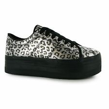 Jeffrey Campbell Play zOMG Leopard Platform Shoes Womens Sil/Bk Trainers Sneaker