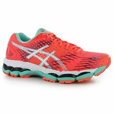 Asics Gel Nimbus 17 Running Shoes Womens Coral/Blue Fitness Trainers Sneakers