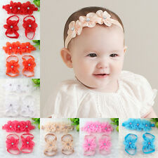 3pcs Foot Flower Barefoot Sandals Baby Girl Infant Kid Crystal Headband Hairband
