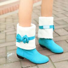 Womens Cute Bowknot Winter Snow Fur Mid Calf Low Heel Warm New Boots Shoes Size