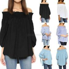 Women Sexy Off Shoulder Plaid Shirt Casual Loose Tops Clubwear Blouse Plus Size