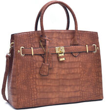 New Women Lock Croco Leather Satchel Handbag Briefcase Tote Shoulder Bag Purse