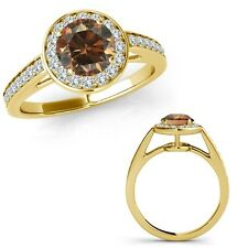 1.5 Ct Champagne Round Diamond Fancy Solitaire Halo Promise Ring 14K Yellow Gold