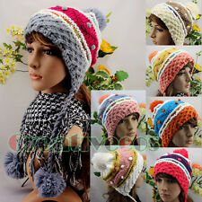 Cute Girl's Warm Wool Knit Colorful Beanies Earmuff Braid Dot Hat Ski Cap 3 Ball