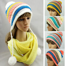 Fashion Women Beanies Winter Wool Knit Colorful Baggy Earflap Hat 3 Pom Ski Cap