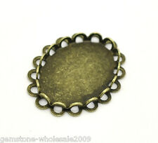 Wholesale Lots Bronze Tone Oval Cabochon Frame Settings 23x18mm(Fit 18x13mm)