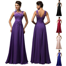 Womens Tulle Lace Long Dress Bridesmaid Beaded Gown Prom Cocktail Party Evening
