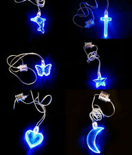 Cross Heart Moon Star Shape Blue LED Light Up Necklace Birthday Party Decoration