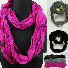Fashion Mesh Lace Floral Small Size Infinity Wrinkle Loop Cowl Eternity Scarf