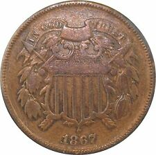 1867 Two Cent Piece Lovely AU Condition w/ Luster