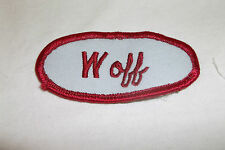WOFF USED EMBROIDERED VINTAGE SEW ON NAME PATCH TAGS OVAL RED ON GREY