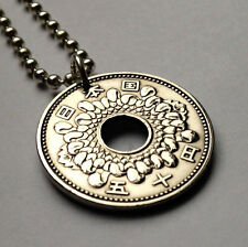 Japan 50 Yen coin pendant Japanese necklace blossom Nippon flower plant n000014