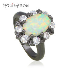 OR799 Precious Rings Black Gold Plated White Fire Opal Fashion Jewelry
