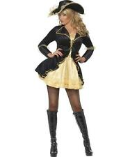 Fever Swashbuckler Pirate Black and Gold Fancy Dress Costume+Hat