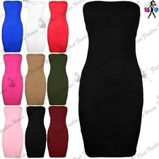 Womens Boob Tube Bandeau Stretchy Bodycon Short Sleeveless Top Ladies Mini Dress