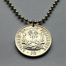 Haiti 10 centimes coin pendant Haitian necklace cannons Port-au-Prince n001270