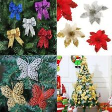Christmas Flower Bownot Butterfly Party Ornaments Xmas Tree Hanging Decoration