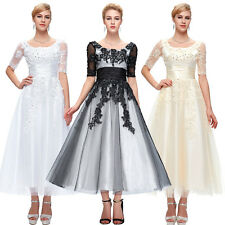 Retro Lace Tulle Ball Gowns Wedding Formal Half Sleeve Evening Party Prom Dress