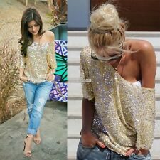 Women Fashion Loose Casual Blouse Summer Short sleeve Sequins Sexy Tops T-shirt