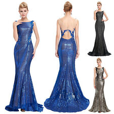 SEXY Backless Shining Sequins Ball Gown Evening Long Prom Party Dress Size 4- 18